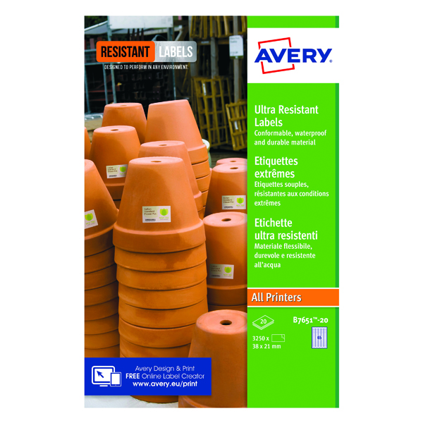Avery Ultra Resistant Lavels 38x21mm (1300 Pack) B7651-20