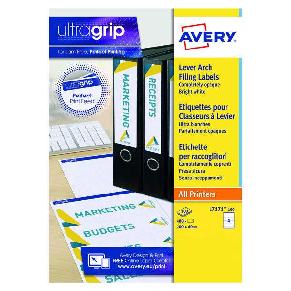 Filing Avery Lever Arch Filing Laser Labels 200mm x 60mm (400 Pack) L7171-100