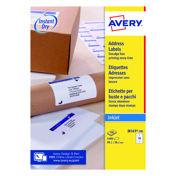 White A4 Sheet Avery Inkjet Address Labels QuickDRY 99.1x38.1mm 14 Per Sheet White (1400 Pack) J8163-100