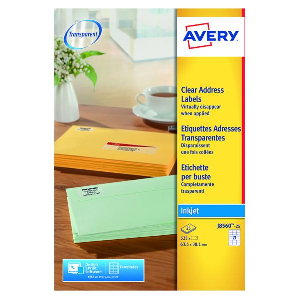 Avery Inkjet Labels 63.5x38.1mm 21 Per Sheet Clear (525 Pack) J8560-25