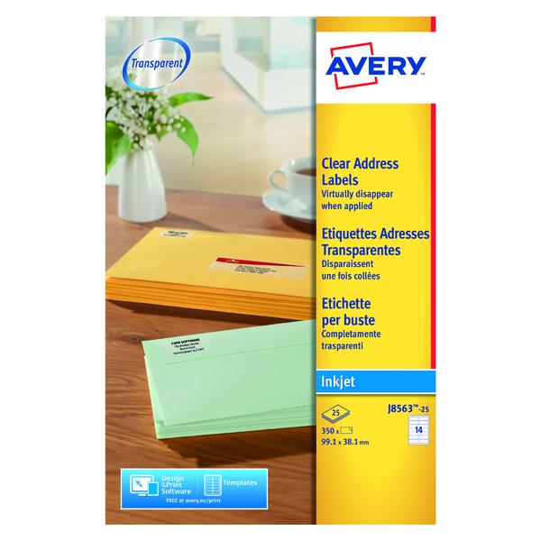 Avery Inkjet Labels 99x38mm 14 Per Sheet Clear (350 Pack) J8563-25