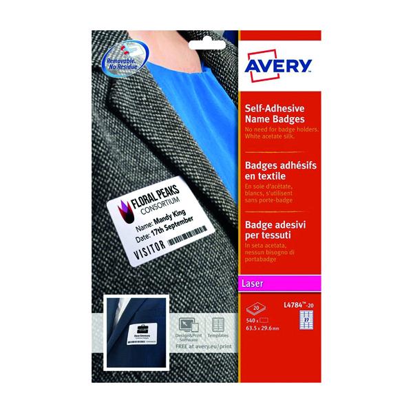 Avery Self Adhesive Name Badge 63.5x29.6mm 27 Per Sheet White (540 Pack) L4784-20