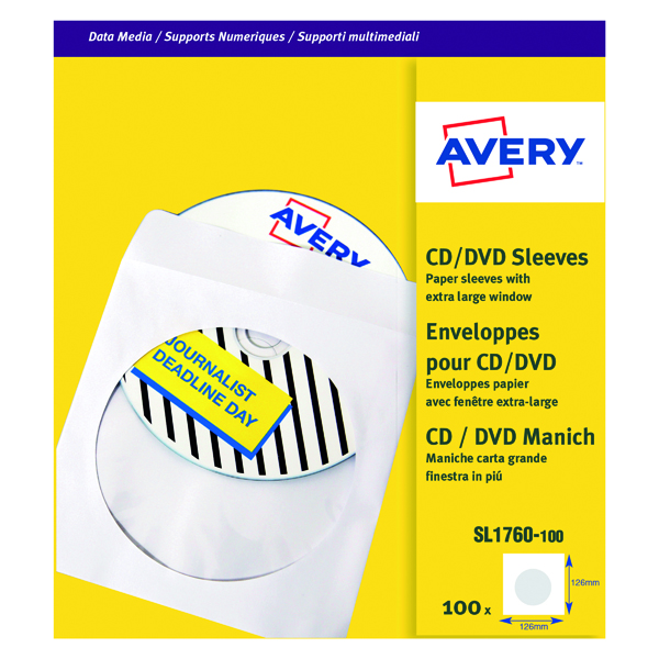 Avery CD DVD Paper Sleeve XL Window White (100 Pack) SL1760-100
