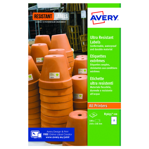 Avery Ultra Resistant Labels 148x210mm (40 Pack) B3655-20