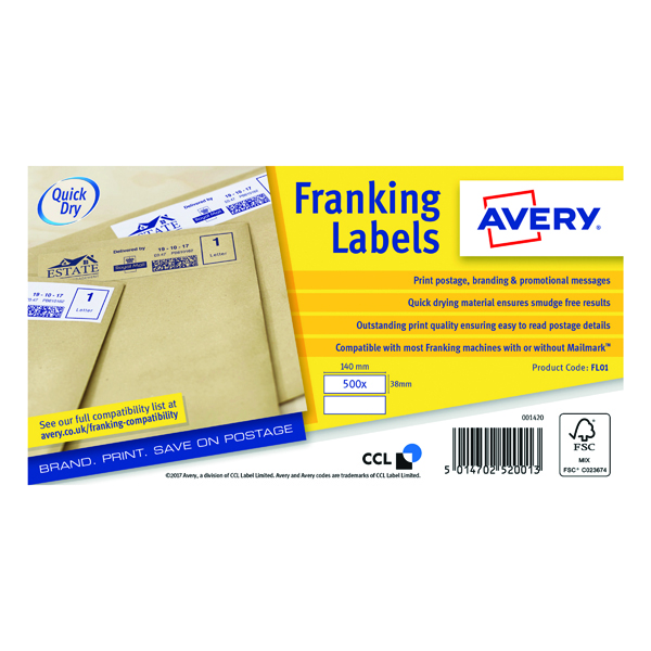Avery Franking Label QuickDRY 140x38mm 2 Per Sheet White (1000 Pack) FL01
