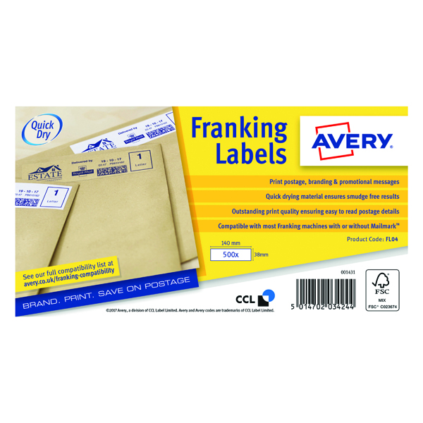Avery Franking Label QuickDRY 140x38mm 1 Per Sheet White (1000 Pack)  FL04
