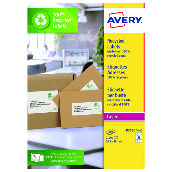Avery Laser Address Label Recycled 63.5 x 38.1mm 21 Per Sheet White (2100 Pack) LR7160-100