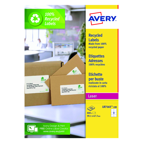 Avery Laser Parcel Labels Recycled 99.1x67.7mm 8 Per Sheet White (800 Pack) LR7165-100