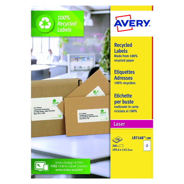 Avery Laser Parcel Labels Recycled 199.6x143.5mm 2 Per Sheet White (200 Pack) LR7168-100