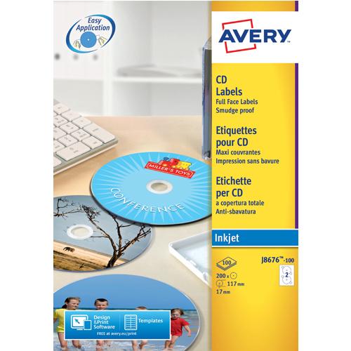 Avery Full Face Inkjet White CD Labels 2 Per Sheet (50 Pack) J8676-25