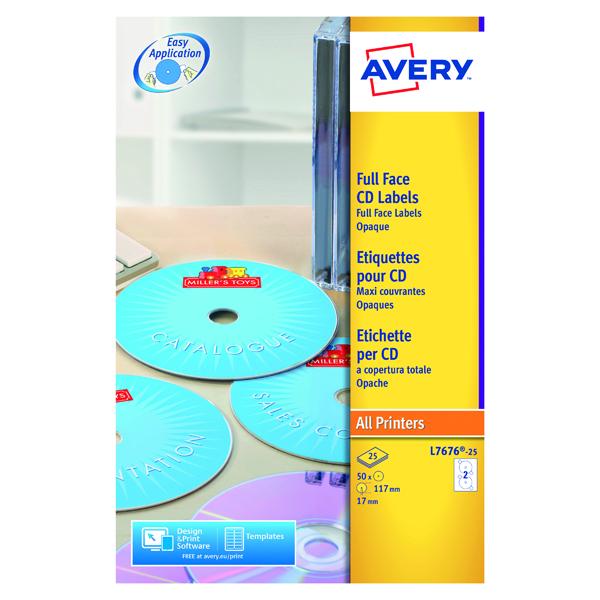Avery White Full Face CD DVD Laser Label 2 Per Sheet (50 Pack) L7676-25