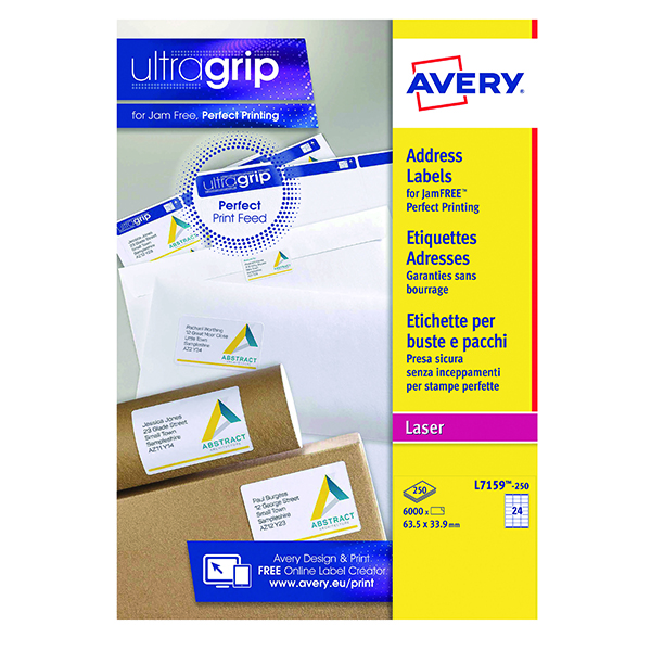 Avery Ultragrip Laser Address Labels QuickPEEL 63.5x33.9mm 24 Per Sheet White (6000 Pack) L7159-250