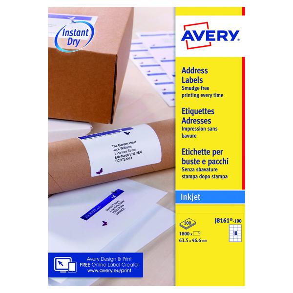 White A4 Sheet Avery Inkjet Address Labels QuickDRY 63.5x46.6mm 18 Per Sheet White (1800 Pack) J8161-100