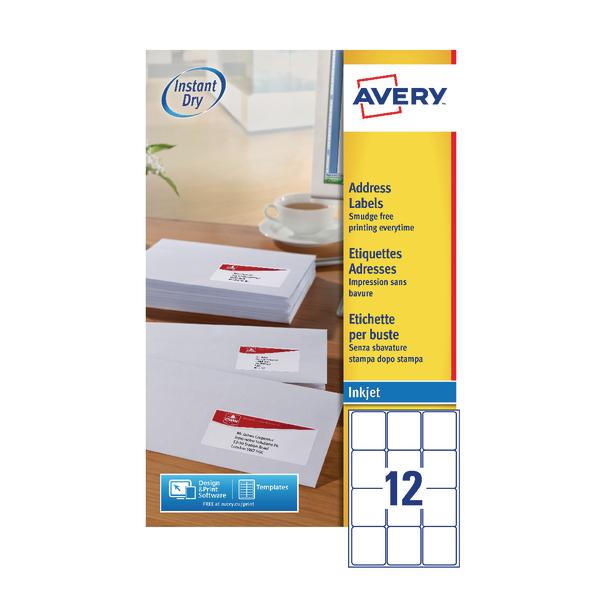 Avery Inkjet Address Labels QuickDRY 63.5x72mm 12 Per Sheet White (1200 Pack) J8164-100