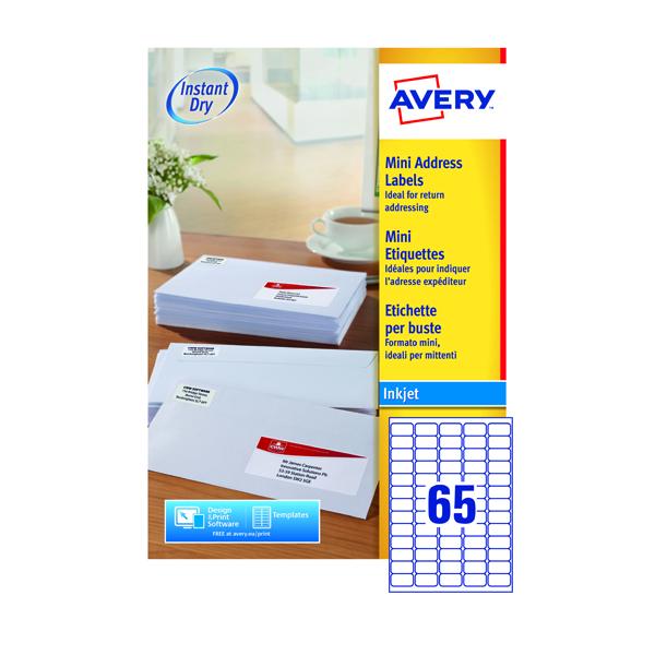 Avery Inkjet Mini Labels 38.1x21.2mm 65 Per Sheet White (6500 Pack) J8651-100