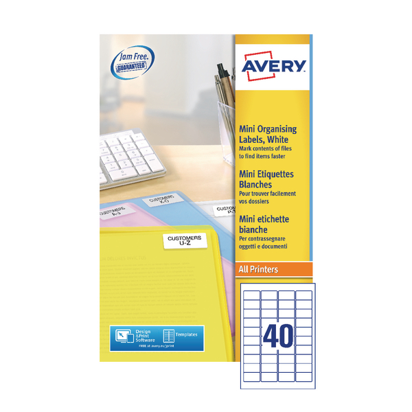 Avery Laser Mini Labels 45.7x25.4mm Sheets 40 Sheet White (1000 Pack) L7654-25