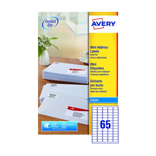 White A4 Sheet Avery Inkjet Mini Labels 38.1x21.2mm 65 Per Sheet White (1625 Pack) J8651-25