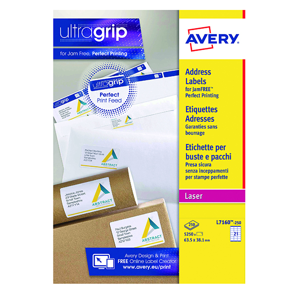 Avery Ultragrip Laser Address Labels QuickPEEL 63.5x38.1mm 21 Per Sheet White (5250 Pack) L7160-250