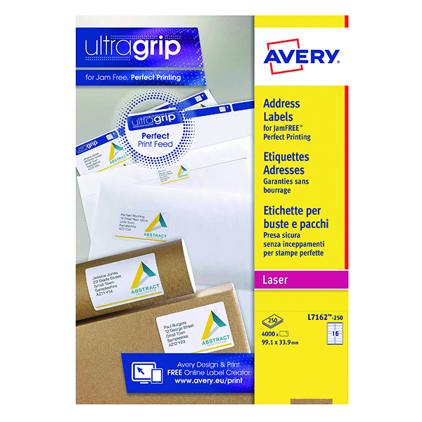 Avery Ultragrip Laser Address Labels QuickPEEL 99.1x33.9mm 16 Per Sheet White (4000 Pack) L7162-250