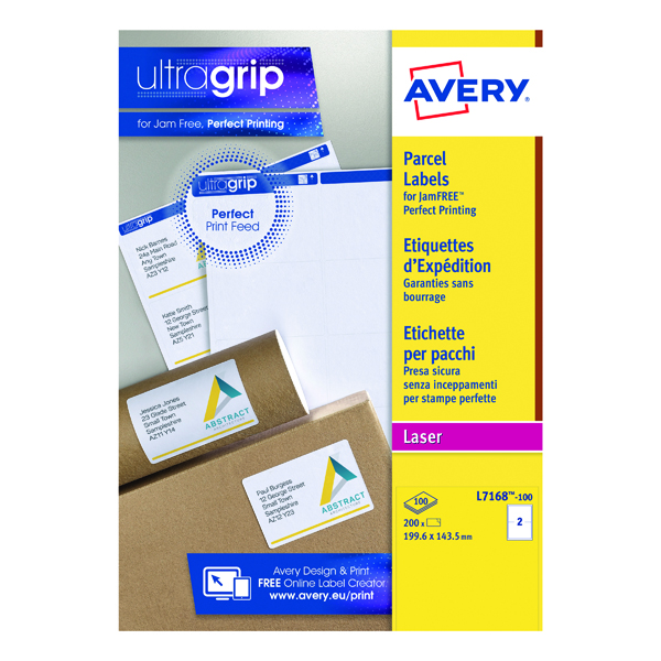 Removable Avery Ultragrip Laser Parcel Labels 199.6x143.5mm 2 Per Sheet White (200 Pack) L7168-100