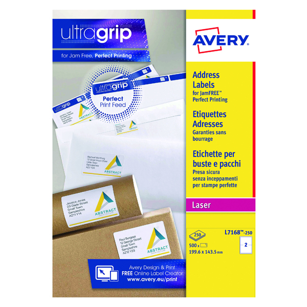 Removable Avery Ultragrip Laser Parcel Labels 199.6x143.5mm 2 Per Sheet White (500 Pack) L7168-250