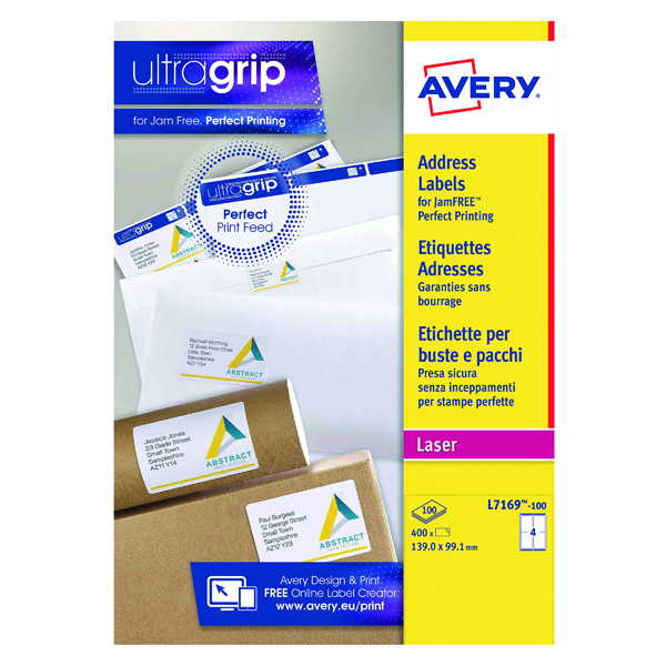Removable Avery Ultragrip Laser Parcel Labels 139x99.1mm 4 Per Sheet White (400 Pack) L7169-100