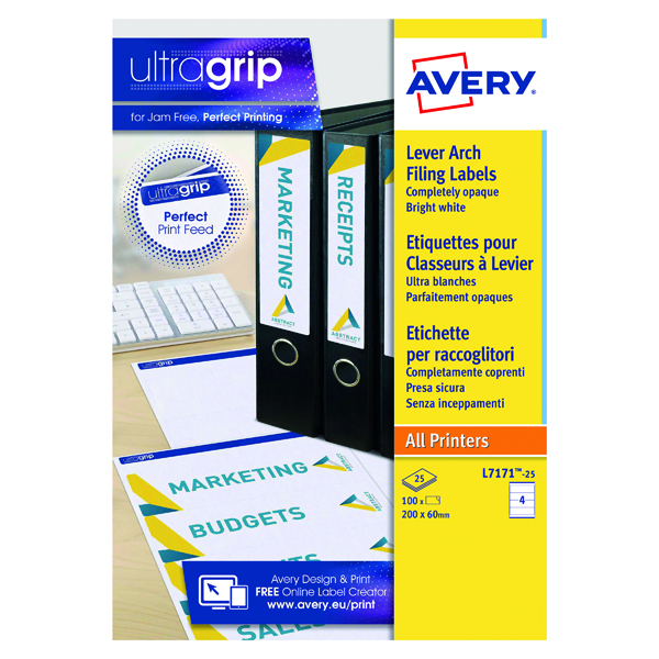 Avery Laser and Inkjet Lever Arch Filing Labels 200x60mm 4 Per Sheet White (100 Pack) L7171-25