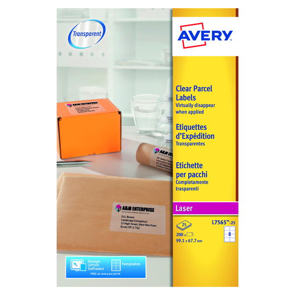 Clear Avery Laser Parcel Label 99.1x67.7mm 8 Per Sheet Clear (200 Pack) L7565-25