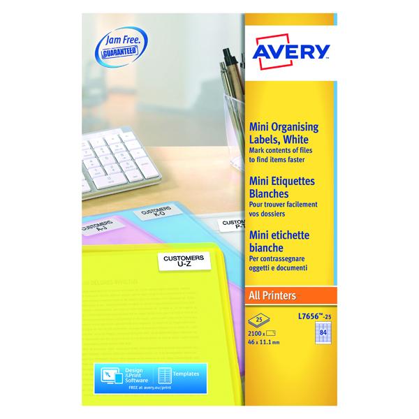 Avery Mini Laser Labels 46mmx11.11mm 84 Per Sheet White (2100 Pack) L7656-25
