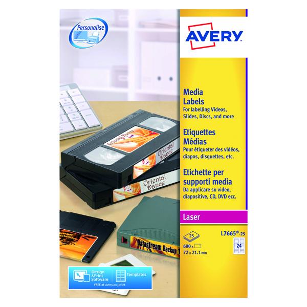 Avery Mini Data Cartridge Label 72mmx21.1mm 24 Per Sheet White (600 Pack) L7665-25