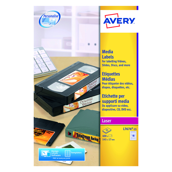 Avery Video Spine Label 145x17mm 16 Per Sheet White (400 Pack) L7674-25
