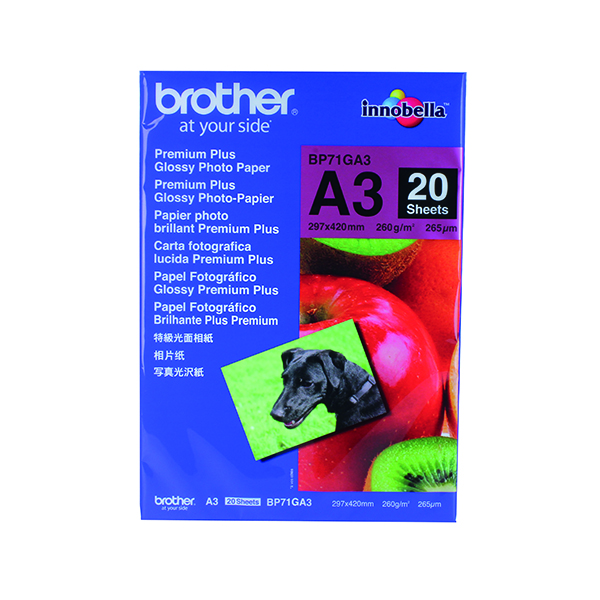 Other Sizes Brother Premium Plus Glossy A3 Photo Paper (20 Pack) BP71GA3