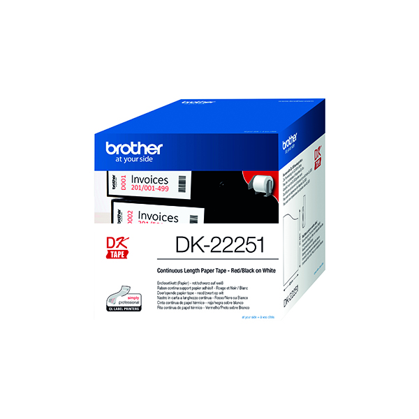 Brother Paper Labelling Tape Continuous Roll Black and Red on White 62mm x 15.24m DK-22251 Each