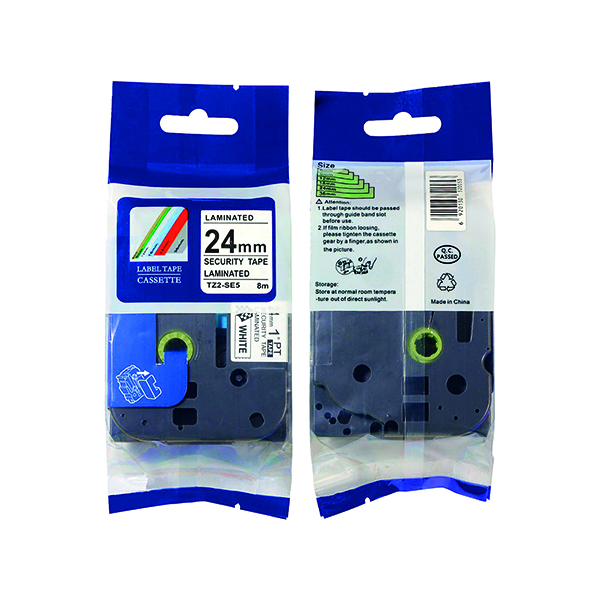 Labelling Tapes & Labels Brother TZe-SE5 Labelling Tape 24mm Black on White TZESE5