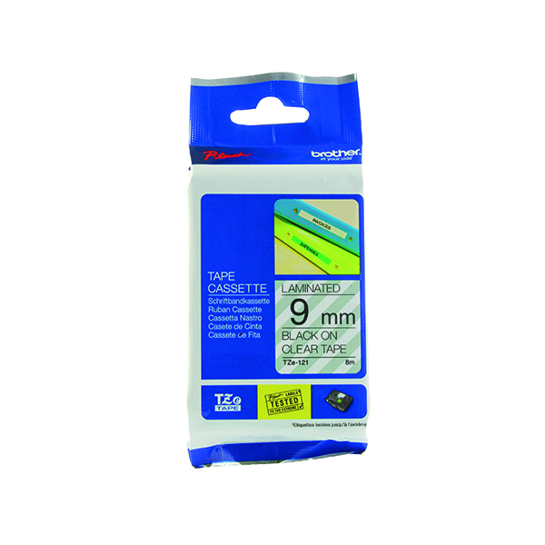 Brother P-Touch TZe 9mm Black on Clear Labelling Tape TZE121