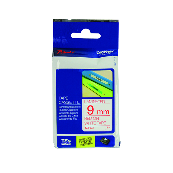 Brother 9mm Red on White TZE222 P-Touch TZe Labelling Tape