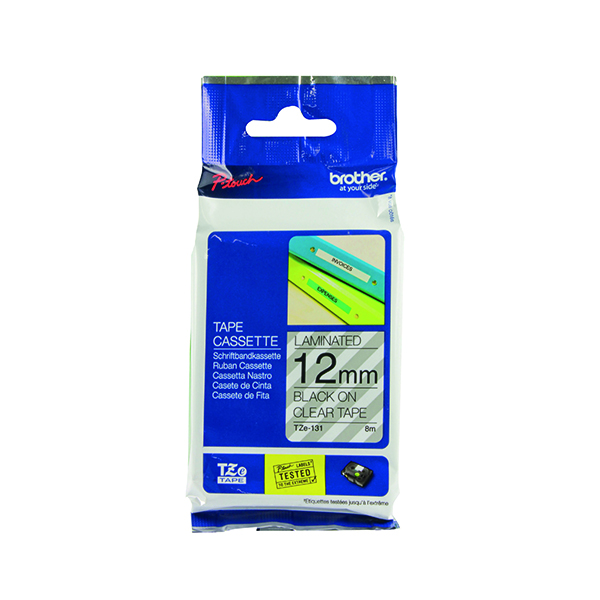 Unspecified Brother P-Touch TZe 12mm Black on Clear Labelling Tape TZE131