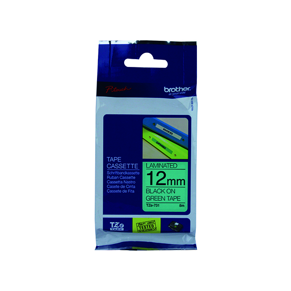 Brother P-Touch TZe 12mm Black on Green Labelling Tape TZE731