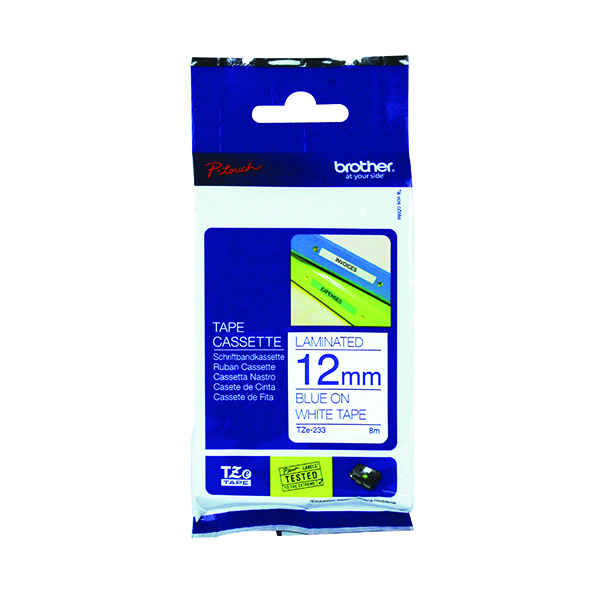 Unspecified Brother P-Touch TZe 12mm Blue on White Labelling Tape TZE233