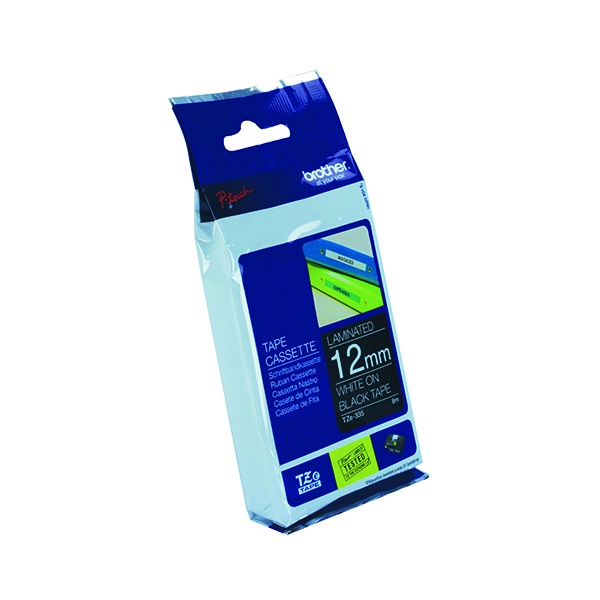 Unspecified Brother P-Touch TZe 12mm White on Black Labelling Tape TZE335