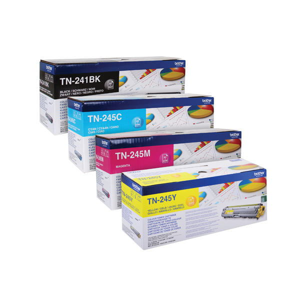 Brother TN245 Toner Cartridge Bundle Cyan/Magenta/Yellow/Black (4 Pack) BA810615