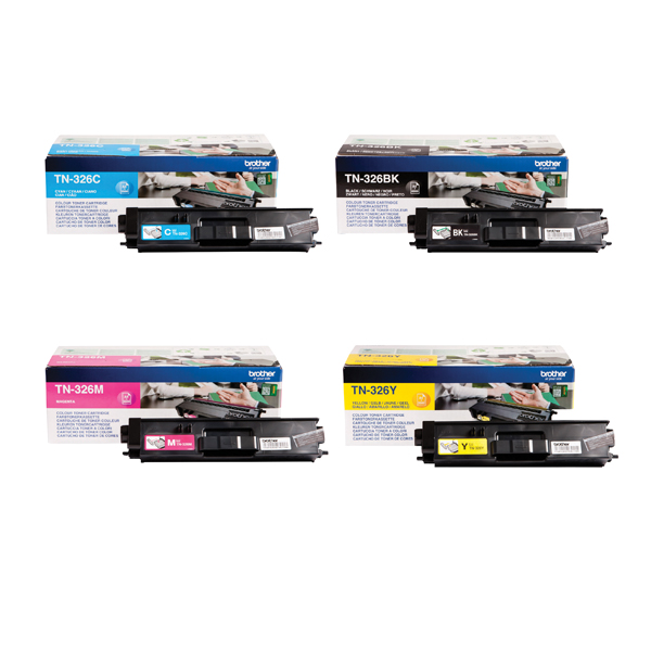 Brother TN326 Toner Cartridge Bundle Cyan/Magenta/Yellow/Black (4 Pack) BA810616