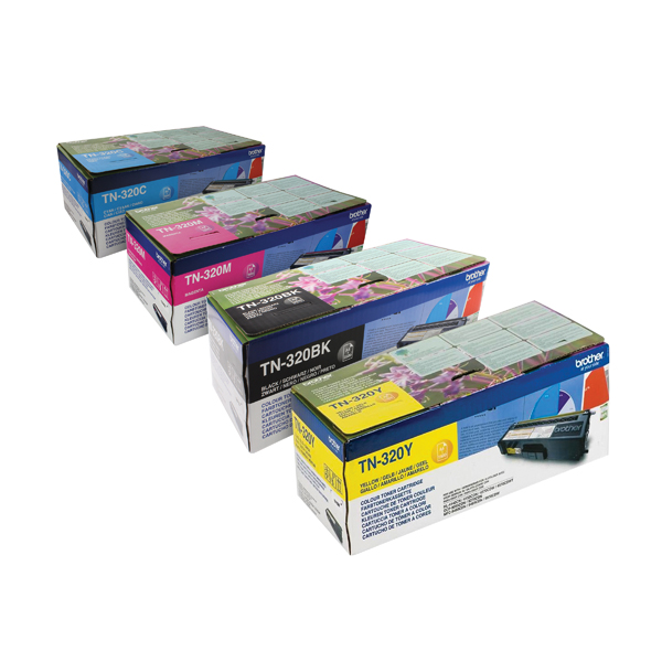 Brother TN320 Toner Cartridge Bundle Cyan/Magenta/Yellow/Black (4 Pack) BA810617