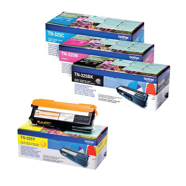 Brother TN325 Toner Cartridge Bundle Cyan/Magenta/Yellow/Black (4 Pack) BA810619