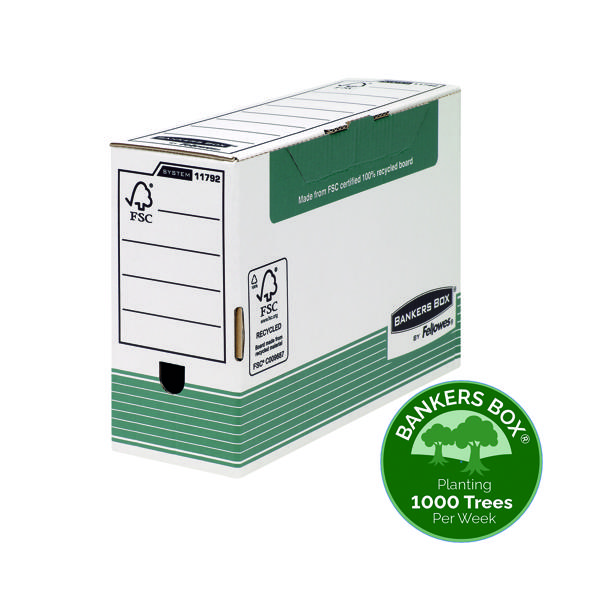 Fellowes Bankers Box Transfer File 120mm Foolscap Green (10 Pack) 1179201