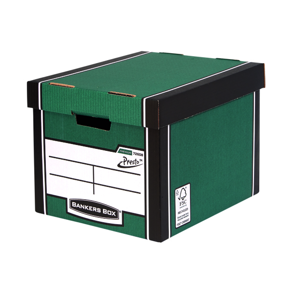 Box Fellowes Bankers Box Green/White Premium Presto Storage Boxes (10+2 Pack) 7260801