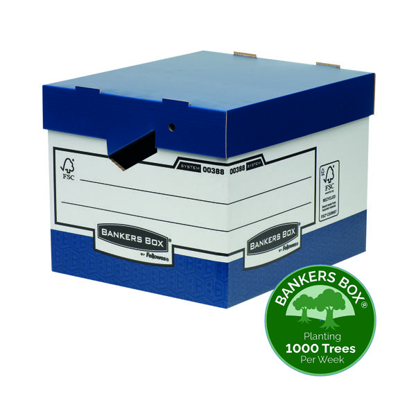Fellowes Bankers Box Heavy Duty Blue and White Ergo Box (10 Pack) 0038801