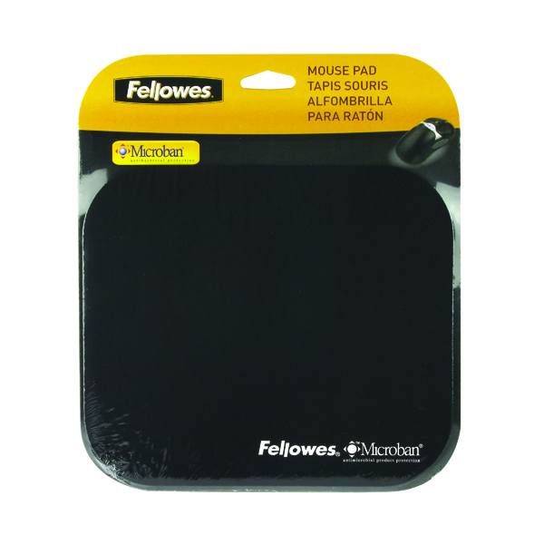 Fellowes Microban Mouse Mat Black 5933905