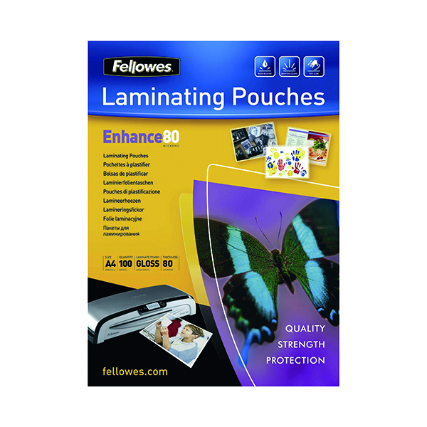 Laminating Film & Pockets Fellowes A4 Self Adhesive Enhance Laminating Pouches 160 Micron (100 Pack) 53022