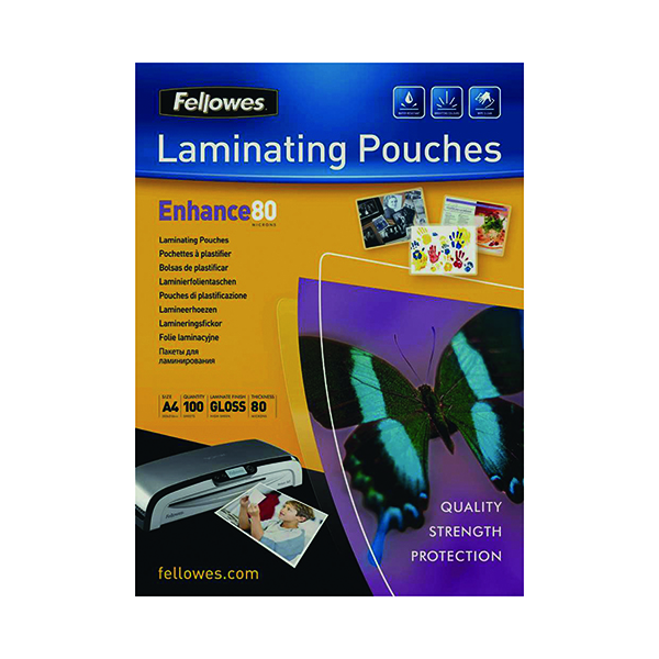 Laminating Film & Pockets Fellowes A4 Laminating Pouch 160 Micron (100 Pack) 55306101